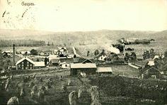 Hedmark fylke Ringsaker kommune Gaupen. Næroversikt fra bygda. Utg M. Finnborud, A.H.S. Co. Stemplet 1907
