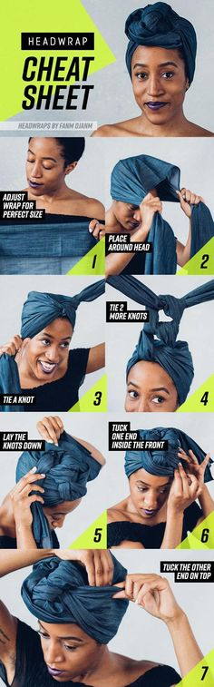 8 Head Wrap Cheat Sheets If You Don't Know How To Tie Them. Protective style… 8 Head Wrap Cheat Sheets If You Don't Know How To Tie Them. Protective style for natural hair Pelo Natural, Natural Hair Tips, Natural Makeup, Natural Skin, Headwraps For Natural Hair, Natural Curls, Mode Turban, Twisted Hair, Pelo Afro