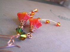 Orange Czech glass bellflower and fire polished bead earrings by TheAmethystDragonfly, $30.00 USD