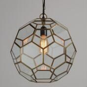 Intricately crafted of clear glass panes set in an antique brass frame, our exclusive pendant's honeycomb contours are reminiscent of a geometric terrarium. Pair it with one of our vintage-style filament bulbs for an on-trend accent. Kitchen Lighting, Home Lighting, Lighting Ideas, Entryway Lighting, Accent Lighting, Interior Lighting, Pendant Chandelier, Pendant Lighting, Stairwell Chandelier