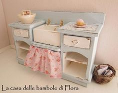 Robin egg kitchen unit with sink - 1/12 dolls house dollhouse miniature. $65.00, via Etsy.