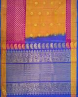 Mixed Shades of Yellow and Pink with Turquoised Blue Handloom Gadwal Silk Saree