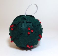 holly ball smoothfoam ornament Christmas Lights Garland, Christmas Ornaments To Make, Ball Ornaments, Christmas Crafts, Merry Christmas, An Elf, Party Themes, Celebrations, Holiday Decor