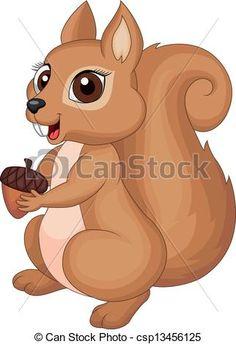 Cute squirrel cartoon holding nut - csp13456125