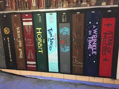 Lockers painted to look like book spines.