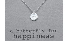 Kutuu sterling silver butterfly for happiness necklace, this dainty motif charm pendant measures 13mm by 9mm and is suspended on sterling silver 45cm trace chain. Comes complete with beautiful presentation box. Order before 2pm for FREE next day delivery. £35 #zoekayjewellery http://www.zoekayjewellery.co.uk/products/497/kutuu-sterling-silver-butterfly-for-happiness-necklace