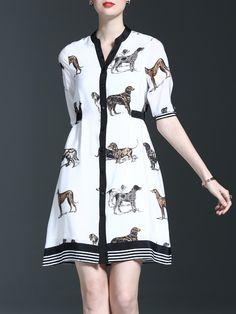 #AdoreWe #StyleWe Designer Midi Dresses - Designer Sicheng.Lisha Casual Animal Print Printed Silk Half Sleeve Midi Dress - AdoreWe.com