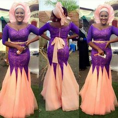 2016 Aso Ebi Style Nigerian Evening Dresses vestidos de noite do casamento for Mother of the Bride Groom Formal Wear Purple and Peach Gowns