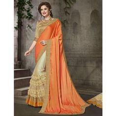 Silk & Net Border Work Orange & Beige Half & Half Saree - A20014