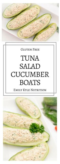 Enjoy a light and refreshing Tuna Salad Cucumber boat while cutting down on calories and carbohydrates! Made with Greek yogurt and fresh cucumbers, this dish is the perfect lightened up version of the classic tuna sandwich. via Emily Kyle Nutrition Low Carb Recipes, Cooking Recipes, Cooking Ideas, Cooking Games, Cooking Pasta, Pasta Food, Cooking Bacon, Clean Eating, Healthy Eating