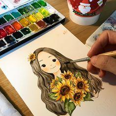 Girly Drawings, Colorful Drawings, Watercolor Illustration, Watercolor Paintings, Character Art, Character Design, Cute Girl Drawing, Cute Cartoon Wallpapers, Anime Art Girl