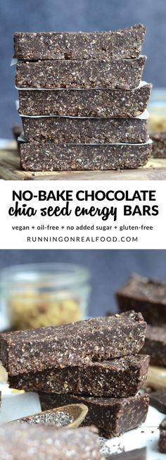Try these easy No-Bake Chocolate Chia Seed Energy Bars for your next healthy snack! High in antioxidants, essentials fats, protein and long-lasting energy! Made with healthy ingredients like chia seeds, walnuts, dark chocolate and medjool dates. Healthy Protein Snacks, Healthy Baking, Healthy Desserts, Healthy Cake, Healthy Foods, Healthy No Bake, Vegan Protein Bars, Eating Healthy, Clean Eating