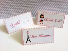 These Personalized Food Tent Cards are in a darling Paris Theme! They are ideal for a sweet lady including your little girl.