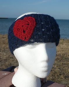 Granny's Heart and Headband pattern includes a sweet heart applique and a headband that is made to fit your head measurement.