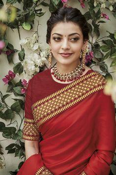 Red Saree, Saree Look, Saree Blouse, Kajal Agarwal Saree, Saree Hairstyles, Indian Hairstyles, Simple Blouse Designs, Indian Designer Outfits, Indian Outfits