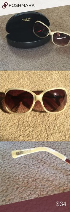 🎉🎊Hp🎊Sunglasses Stylish sun blocking, bone colored shades by Talbots's.  Dark brown gradient lenses with UV protection.Hard case included. Talbots Accessories Glasses