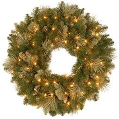 National Tree Company 24 Atlanta Spruce Pre Lit Christmas Wreath With Clear Lights Products Christmas Wreaths With Lights Artificial Christmas Wreaths P