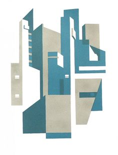 Paul Catheral lithograph print inspired by architect Erno Goldfinger, making use of the textual qualities achievable with this process.