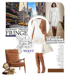 """Yahoo Style NYFW Trend: Fringe"" by serepunky ❤ liked on Polyvore featuring Glamorous, BCBGMAXAZRIA, Rebecca Minkoff, Kate Spade, Authentic Models, By Terry, contestentry, PolyvoreNYFW and yahoostyle"