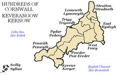 "HUNDREDS OF CORNWALL | 'From Anglo-Saxon times until the 19th century, Cornwall was divided into hundreds (some with the suffix ""-shire"", as in Pydarshire, East and West Wivelshire and Powdershire which were first recorded as names between 1184-1187). In Cornish, the word for ""hundred"" is ""keverang"" (pl. ""keverangow""), the equivalent of the Welsh ""cantref"".'     ✫ღ⊰n"