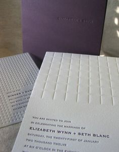 From Elum's Affordable Letterpress Wedding Invitations collection, this is Parallel - love the color, of course, but also love the debossing, particularly on the reception card. Modern, elegant, gorgeous.