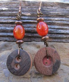 Button Earrings by brendalou2 on Etsy, 10.00
