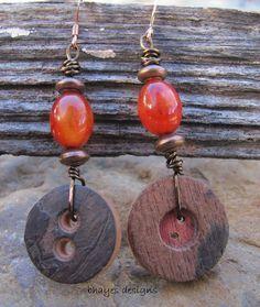 Button Earrings by brendalou2 on Etsy, 10.00