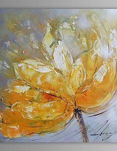 pittura a olio moderna astratta fiore mano tela con cornice allungata dipinto