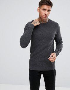 Tokyo Laundry Lambs Wool Ripple Knit Sweater - Gray