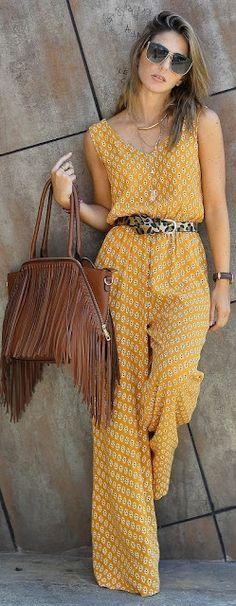 Fashion trends | Printed jumpsuit, belt, handbag