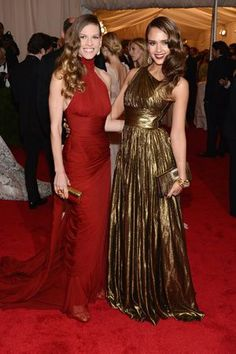Hilary Swank and Jessica Alba (same hair stylists?) at the MET Gala
