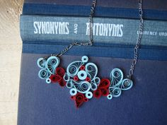 Bib Necklace Paper Necklace in blue and red jewelry by SbirOtak