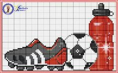 Soccer ball and water bottle x-stitch - Sport - Cross Stitch Bird, Counted Cross Stitch Patterns, Cross Stitching, Cross Stitch Embroidery, Crochet Quilt, Crochet Cross, Crochet Chart, Modele Pixel Art, Cross Stitch Pictures