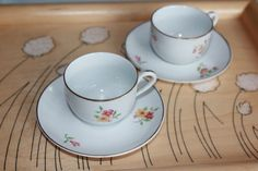 Pair of beautiful antique children's coffee cups by Arabia Finland 1930