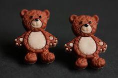 New to StumblingOnSainthood on Etsy: Teddy Bear Earrings. Rusty the Bear Button Earrings. Teddybear Earrings. Stud Earrings. Bear Earrings. Post Earrings. Handmade Jewelry. (12.00 USD)