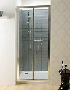 accordion style trackless shower door   Design   Pinterest ...