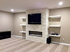 Basic Steps of Basement Remodeling Fireplace Feature Wall, Living Room Decor Fireplace, Fireplace Tv Wall, Basement Fireplace, Fireplace Remodel, Fireplace Design, Tv Feature Wall, Tv Wall Design, House Design