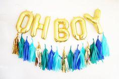 OH BOY balloons - gold mylar foil letter balloon - tassel garland set