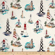 American Coast Towers of the Sea Lighthouses Natural from @fabricdotcom  Designed by DeLeon Design Group for Alexander Henry, this cotton print fabric is perfect for quilting, apparel and home decor accents. Colors include cream, black, grey, blue, red, purple and green.
