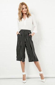 Glamorous Striped Culottes in Black & White Stripe XS - L   DAILYLOOK