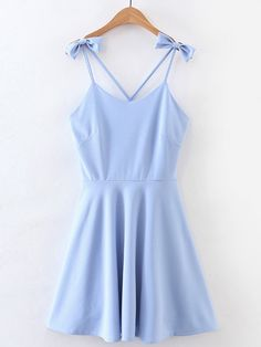 Shop Criss Cross Back Cami Dress With Bow Detail online. SheIn offers Criss Cross Back Cami Dress With Bow Detail & more to fit your fashionable needs. Elegant Dresses, Pretty Dresses, Women's Dresses, Dress Outfits, Casual Dresses, Short Dresses, Casual Outfits, Cute Outfits, Fashion Outfits