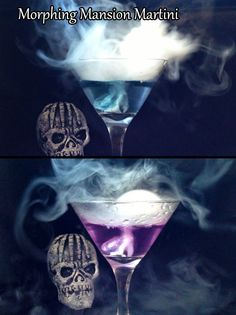 RECIPE: Morphing Mansion Martini. This smokey cocktail changes colors like the wallpaper inside the Gracey Manor. Perfect for our Haunted Mansion Halloween Party!