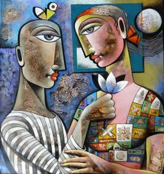 Dreamy Eyes, painting of a Orissa based artist Karuna Priya.