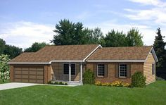House Plan 94367 | Ranch Plan with 1130 Sq. Ft., 3 Bedrooms, 2 Bathrooms, 2 Car Garage