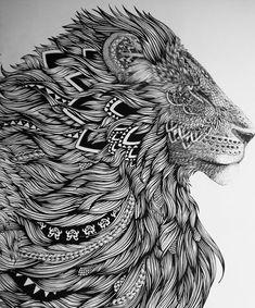Lion head tattoo design concept