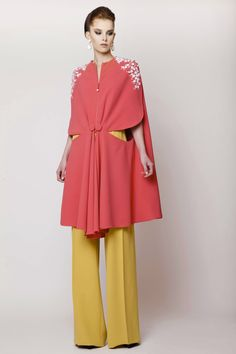 Azzi & Osta Couture SS 2015,  Silk Coral Crepe Cape with Hand Sequined Florals and Wide Legged Mustard Pants