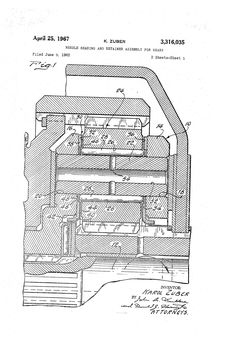 Patent US3316035 - Needle bearing and retainer assembly for gears - Google Patents MULTIPLE IMAGES Multiple Images, Patent Pending, Gears, Diagram, Google, Gear Train