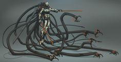 Beyond Human (Villains) - Character Design by Bjorn Hurri Arte Sci Fi, Sci Fi Art, Cyberpunk Character, Cyberpunk Art, Robot Concept Art, Weapon Concept Art, Science Fiction, Character Concept, Character Art