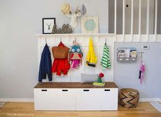 Hack an IKEA storage unit to create a mudroom or entryway storage piece for a pretty good price.