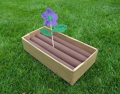 """Pool noodle garden... room element! Would be fun to """"plant"""" all sorts of amigurumi veggies in the rows!"""